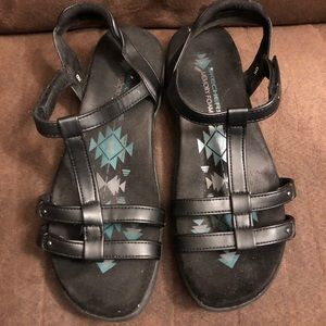 Skechers black memory foam sandals. Size 9.
